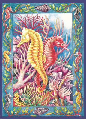 "Original painting ""Seahorses"" by Julia Pinkham"