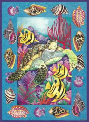 Painting Of Sea Turtle Page by Julia Pinkham